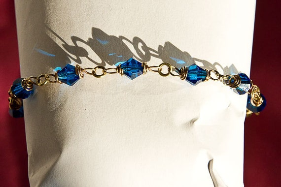 Brass Bracelet Capri Blue Crystal Chain ft. Celtic Spirals