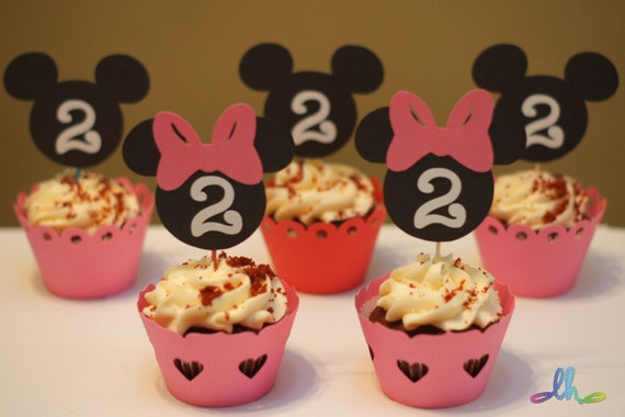 Mickey Mouse and/or Minnie Mouse Cupcake Toppers - Set of 12