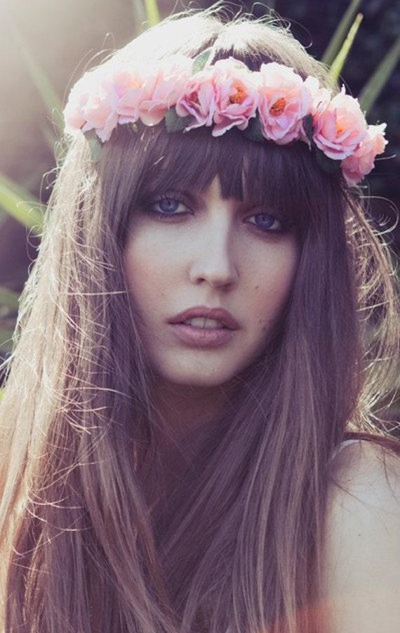 Eterie Flower headband,flower crown, Boho Pink Flower Crown,Rose Headband,Rose Floral Crown,  coachella flower crown, Festival Wear