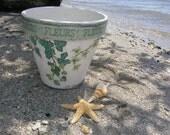 FLOWER CLAY POT, Vintage Plant Pot, Decoupage Pot, Country Ceramic Vase, Romantic Wedding Vase, Shabby Chic Flower Pot.