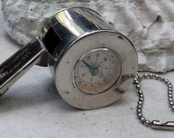 Stay on Course Vintage  Compass Whistle Key Chain NEWECHO Occupied Japan