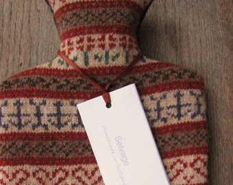Fair Isle Hot Water Bottle Pure Wool