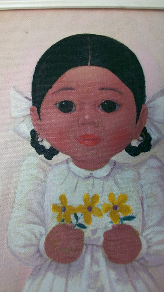 Adorable Big Eye  Mexican girl painting with daisies framed in vintage white frame 1970's
