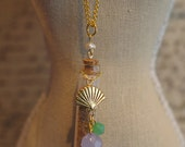 CLEARANCE SALE: The Ariel Necklace - Gold Seashell Charm w/ Purple & Green Beads on a Corked Glass Bottle Filled w/ Sand Pendant Necklace