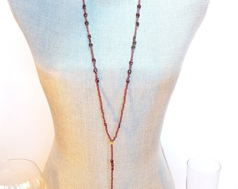Garnet and Gold Skull Extra Long Rosary Style Necklace