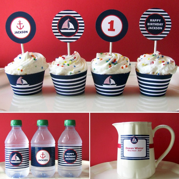Nautical Birthday - Nautical Printable - Printable Party - Baby Shower - First Birthday - sail boat - 1st birthday - Navy - Red - Boy - Girl