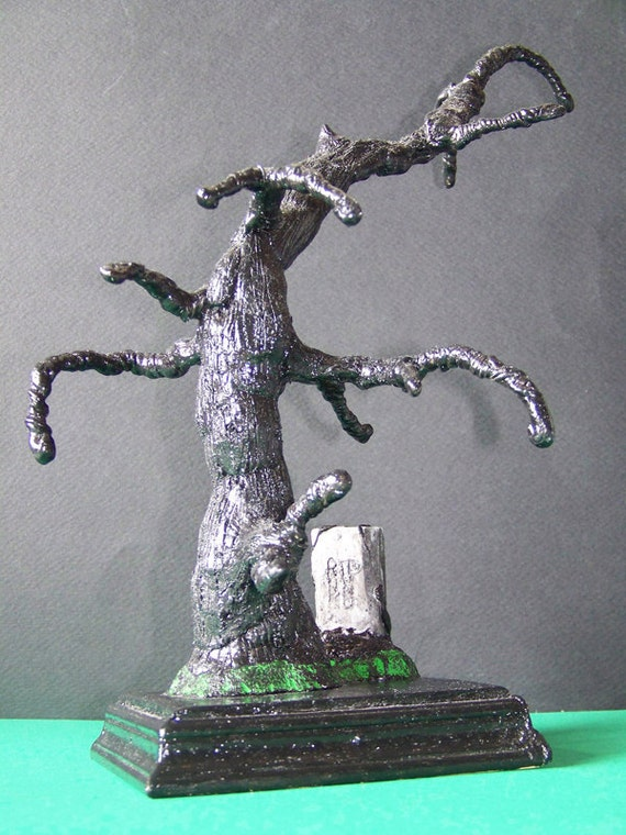 MARKED DOWN - Decorative Creepy Tree, Horror, Spooky, Gothic, Fantasy, Macabre, Dark - Tree with Tombstone, Wooden Base, Tim Burton Inspired