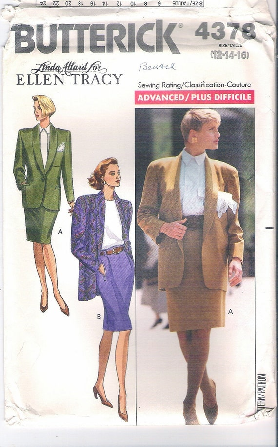 Butterick 4378 Designer Ellen Tracy Jacket Skirt Sewing Pattern Misses Size 12,14,16