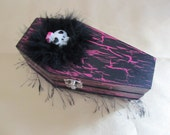 Gothic Pink and Black Coffin Jewelry Box