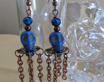 Blue Skull Earrings with Copper Accents