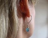 Blue Swarovski Sterling Silver Earrings. Wire Wrapped Dangle Earrings. Crystal Ear Wires