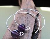 Amethyst Hoop Earrings. Modern Open Hoops. Sterling Silver Purple Gemstone Earrings. minimalist contemporary jewelry