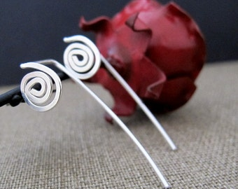 Long Post Earrings in Sterling Silver. Spiral Earrings. Modern Dangle Swirl Earrings. Elegant  Earrings. Gorgeous Jewelry