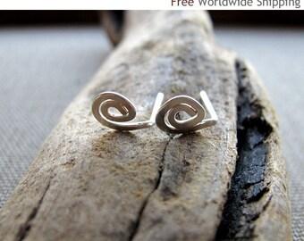 Tiny Spiral Stud Earrings. Mini Swirl Sterling Silver Earrings. Handmade Small post Earrings. Fashion Jewelry - Minimalist Jewelry - Tiny