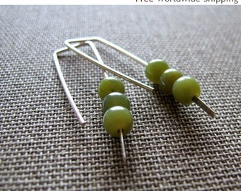 Modern Sterling Silver Earrings w/h Tiny green stones. Organic Round Smooth Stone Beads Earrings