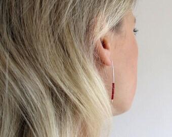 Elegant Red Beaded Earrings. Sterling Silver Long Earrings. Handmade Silver Linear Earrings. Red Earrings. Threader Earrings.Dainty earrings