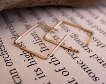 15mm Gold Square Hoop Earrings - Little Square Hoops - Elegant Jewelry - Unisex Earrings - Square Earrings - Modern Earrings - Minimalist