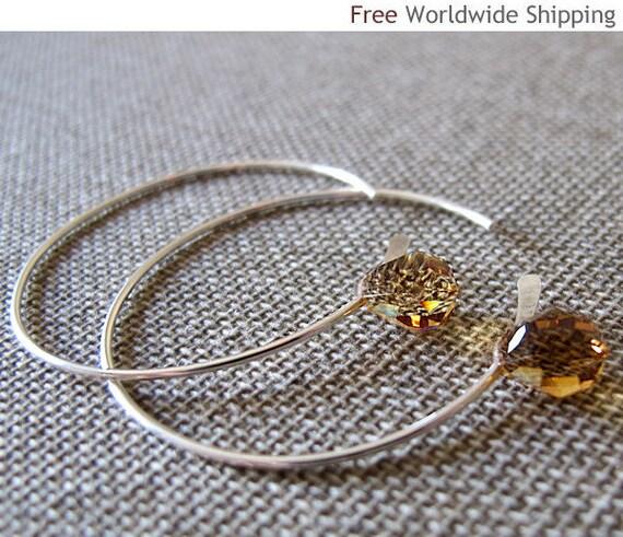 Amber Swarovski Hoop Dangle Earrings. Elegant Sterling Silver Earrings. Clear Swarovski Crystal Earrings. Teardrop Crystal Earrings