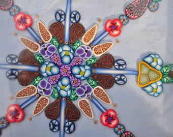 SALE! - Light Blue Shadow Box Mandala, Geometric, Flowers, Leaves