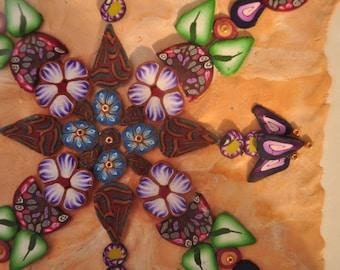 SALE! Earth  Shadow Box Mandala, Flowers, Leaves, Geometric