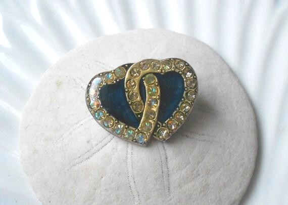 Vintage brooch, intertwined heart art deco brooch, something blue rhinestone