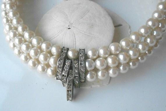 Vintage art deco bridal collar- 3 row pearl with rhinestones jewelry necklace