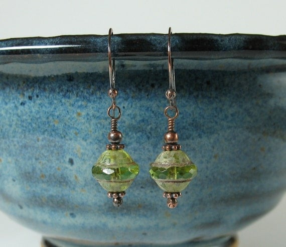 green faceted Czech glass copper earrings