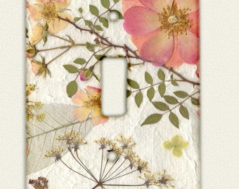 Switch Plate Pressed Flower Art PRINT from original