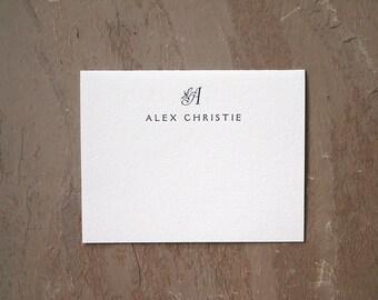 Monogram Letterpress Stationery Set - Personalized Folded Cards - Engraver