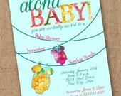 Tropical Onesie Luau Baby Shower Invite - Printable