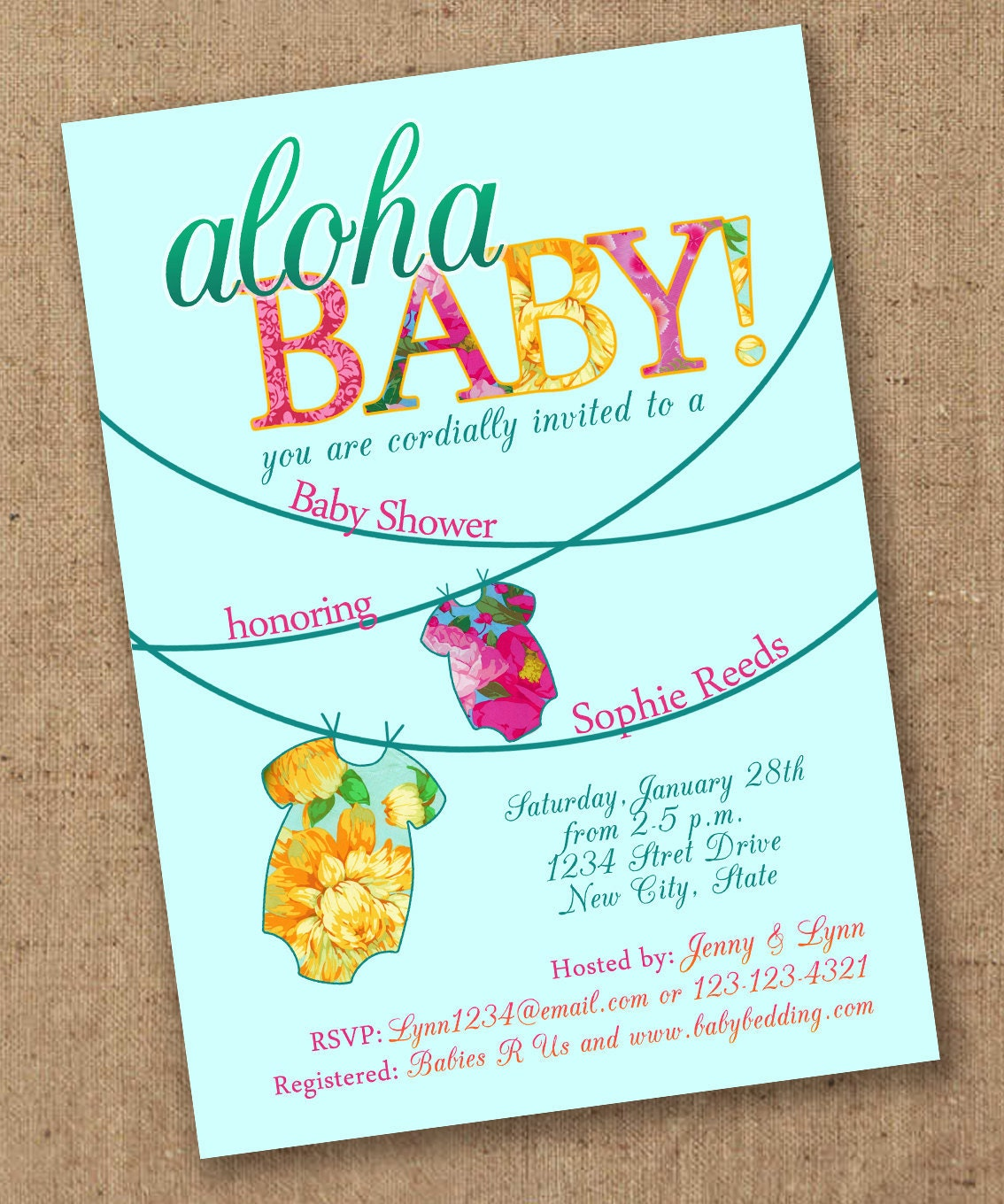 tropical onsie luau baby shower invite by lovesweetpeacards