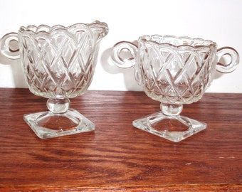 """INDIANA GLASS PRETZEL Creamer Sugar 2 Piece Set Clear Crystal Vintage 1940's 3 3/4 and  4"""" High Excellent Condition"""