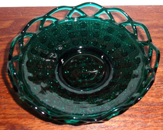 "IMPERIAL OHIO LACE Open Edge Stiegel Green Crystal  Round 6 1/2"" Nappy Bowl Candy Dish No. 7455 Cane Design  1940s 50s Excellent Condition"