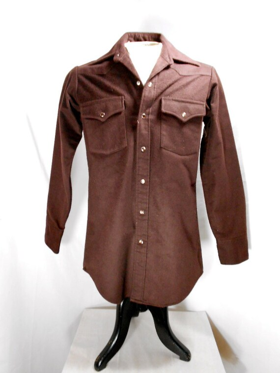 1970s Lee Brown Cotton Western Shirt Size Large