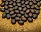 Brown Oval Czech Beads 12mm (20) Pressed Glass Frosted Matte Flat Dark Chocolate Spring last