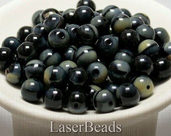 Black Czech Glass Beads 10mm (12) Round Gemstone style