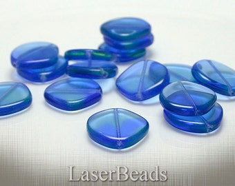 Marine Blue and Sea Green Flat Round Czech Glass Beads 21mm (6) last