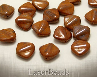 Brown Large Czech Glass Beads 17mm (6) Flat Pressed Opaque Mustard Big Terracotta LAST