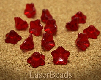 Red Czech Flower Beads 12mm (15) Pressed Glass Bell Trumpet last