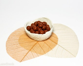 Bright Brown Czech Opaque Glass Beads 8mm (20) Milk Chocolate Round druk beads.