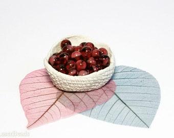 Czech Glass Bead Burgundy Red and White 8mm (20) Milky Round druk beads last