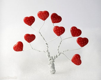 Love Large Red Strawberry Heart Beads 12mm (12) Czech Opaque Glass Pressed Tree Big Europeanstreetteamt