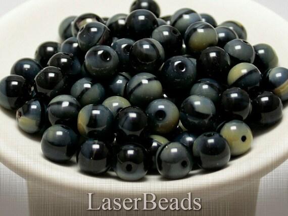 Black Czech Glass Beads 10mm (12) Round Gemstone style