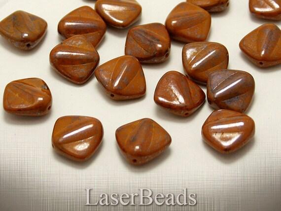 Brown Large Czech Glass Beads 17mm (6) Flat Pressed Opaque Mustard Big Terracotta LAST