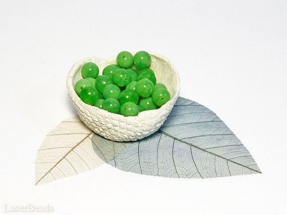 Bright Peridot Green Czech Opaque Glass Beads 8mm (20) Pressed Round Druk Milky  LAST