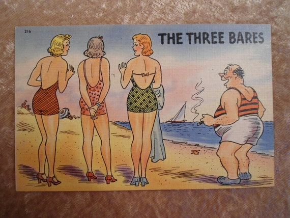 Vintage Postcard 1940s Beach Vacation The Three Bares
