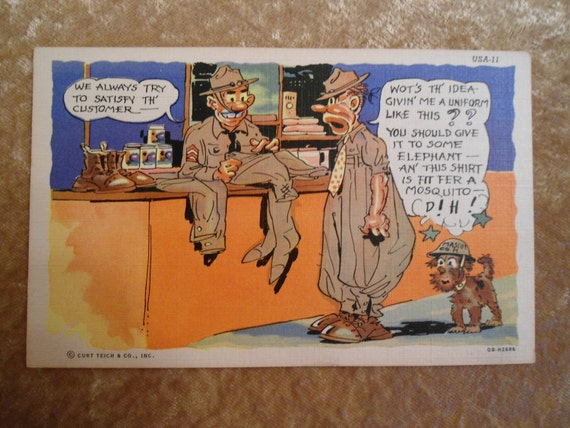 Vintage Linen Postcard 1950s Military Humor Bad fitting Uniform