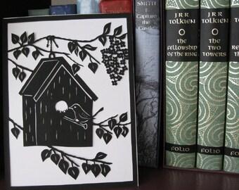 Scherenschnitte Bird House Wren and Lilacs, Cut Paper Wall Art