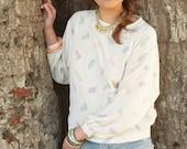 vintage 80's pastel feather blouse