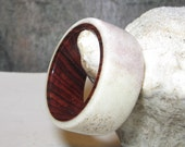For Holly Only Moose Antler Lined With  Cocobolo, Custom Antler and Wood Ring